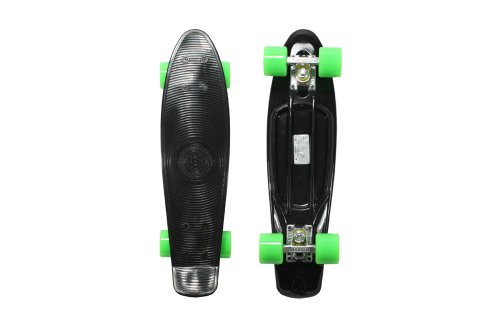 Stereo Vinyl Cruiser Plastic Complete Skateboard (Black, 22.5&#215;6-Inch)