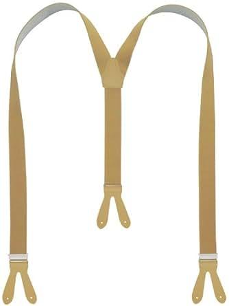 Bretelles de haute qualité pour Femmes / Hommes à boutonnière - Cuir véritbale - Taille réglable jusqu'à 190cm - Fabriqué en Allemagne (Beige - 158)