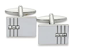 Crystal Rhodium Plated Base Metal Cufflinks, Model 5249