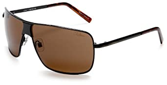 Cole Haan Men's C704 Stamped Metal Sunglasses,Black Frame/Brown Lens,one size
