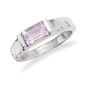 Sterling Silver Emerald Cut Amethyst Ring / Size 10