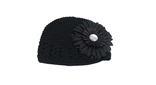 Knitted Cap Black Daisy Flower Winter Hats for Girls Infant 4.9x6.3'' saint petersburg for visitors