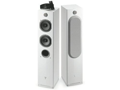 Focal - Easya Wireless Powered 2 1/2 Way Floorstanding Speakers - White (Pair)