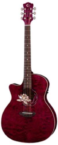Luna Guitars Grand Concert Flo Lot Qm L Left Handed Flora Lotus Trans Acoustic-Electric Guitar, Plum Quilt Maple