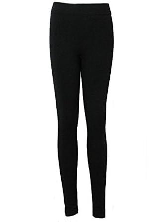 Womens Leggings Ladies Thick Fleece Lined Leggins By Love Lola Long Winter Warm Plus ( L/XL 14/16, Black)