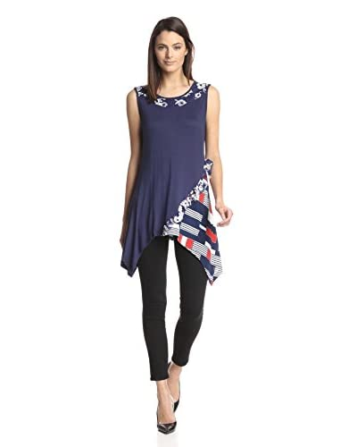 Aster Women's Block Pattern Floral Accent Tunic