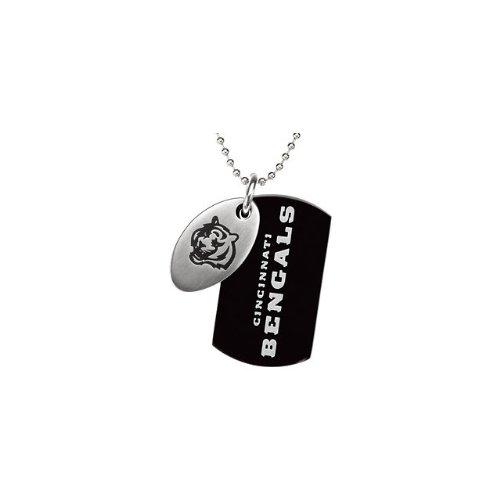 1 St Steel 45mm Cincinnati Bengals NFL Football Team Jewelry Men 2 Dog Tag W/Chain