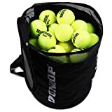 ★持ち運びらくらく★ダンロップ折りたたみ式テニスボールバッグ約80球入れ 【黒】