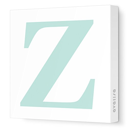 "Avalisa Stretched Canvas Upper Letter Z Nursery Wall Art, Aqua, 12"" x 12"" - 1"