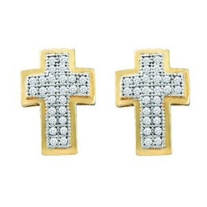 10K Yellow Gold 0.15 ct. Diamond Cross Earrings