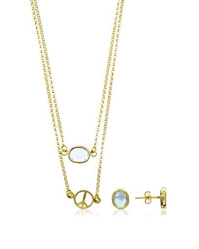Silver One Conjunto de cadena, colgante y pendientes Duo Árbol De La Vida Oro Calcedonia