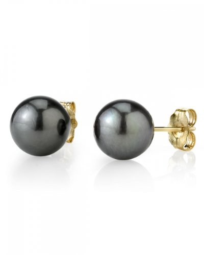 11-12mm Tahitian South Sea Pearl Stud Earrings in 14K Gold - AAA Quality
