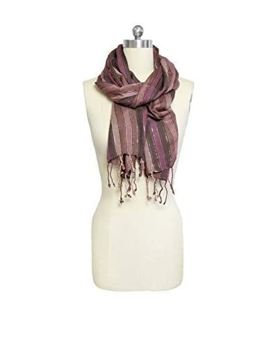 Saachi Women's Striped Scarf, Brown