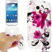 Purple Flower Pattern TPU Case for Samsung Galaxy S IV mini / i9190 (Blue)