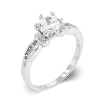 White Gold Rhodium Bonded Engagement Ring with Shouldered Baguettes and Centered Round Cut CZ in Silvertone