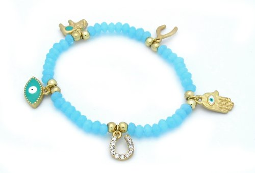 Gold Plated Fashion Stretch Design Hamsa/Hand of Fatima Bracelet with Evil Eye, Wishbone, Elephant, and Horseshoe - Clear CZ and Baby Blue Crystals