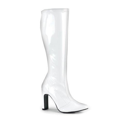 FLIRT-308, Women's 4'' Heel Stretch Patent Boots in White or Yellow in Sizes 6-12 Perfect for Halloween