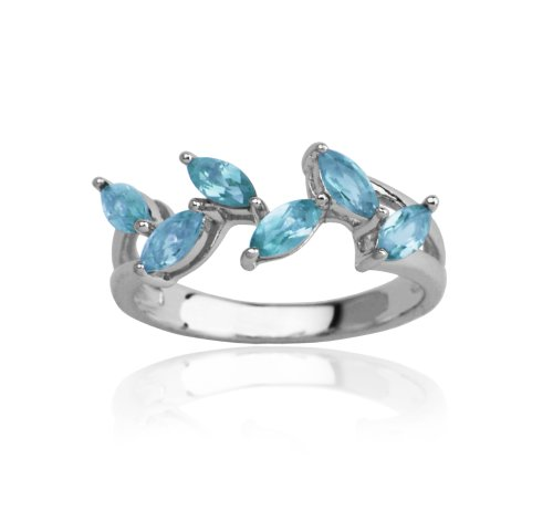 Sterling Silver Leaf Design Blue Topaz Ring, Size 8