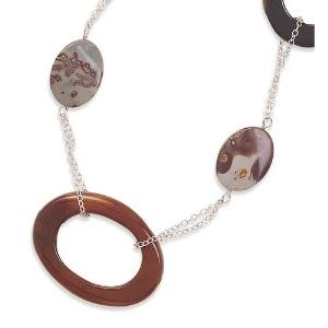 Carnelian and Jasper Necklace 36 inches in Length Sterling Silver - Made in the USA