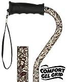 Royal Canes -Bahama Leaf Adjustable Offset Walking Cane With Comfort Gel Grip