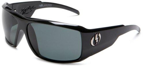 Electric Visual Kb1 Polarized Rectangular Sunglasses,Gloss Black Frame/Grey Lens,One Size