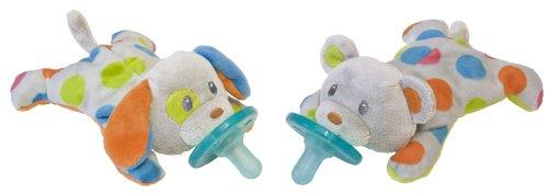 Wubbanub Confetti Puppy & Teddy Bear Pacifier Twin Set front-727200