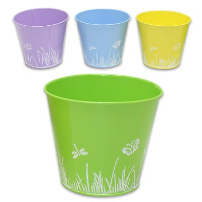 "1 Piece of 5.5""d Metal Butterfly with Grass Pastel Color Planter- (Random Color)"