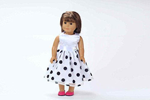 Teenitor(TM) White Dress With Black Plok Dot Fits 18 Inch Girl Dolls (Shipping By FBA)