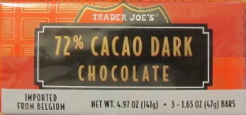 Trader Joe's 72% Cacao Dark Chocolate….2 X 3 Bars