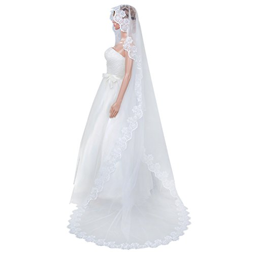 AdasBridal 1 Tier Vintage Lace Edge Wedding Bridal Veil--Ivory Cathedral Length 102.3