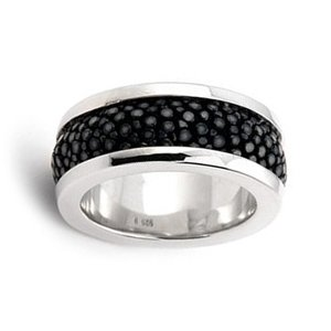 Sterling Silver, Hematite Stingray Leather Ring (Nickel-Free)