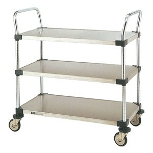 Metro MW Series Stainless Steel Utility Cart, 3 Shelves, 375 lbs Capacity, 36