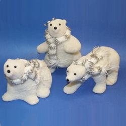 Ice Palace Sitting White Fuzzy Arctic Polar Bear Christmas Ornament