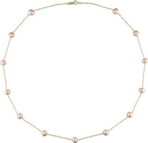14k Yellow Gold FW Pink Pearl Tin-cup Necklace (5-6mm)