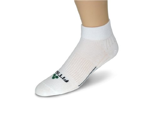Fitsok Fitsok CF2 Cushion Quarter Cut Sock, 3-Pack (White, Medium)