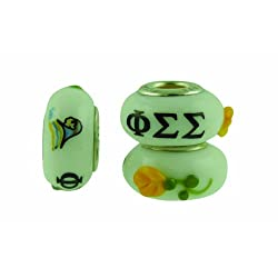 Phi Sigma Sigma Sorority Hand Painted Fenton Glass Bead