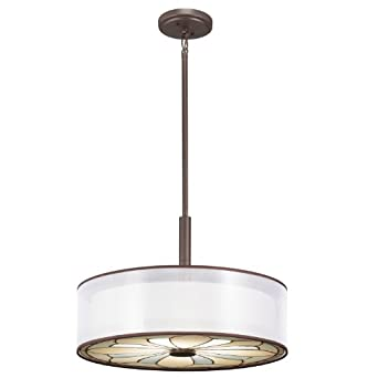 Kichler Lighting 65387 Louisa 4-Light Convertible Fixture, Olde Bronze Finish with White Organza Shade and Art Glass Diffuser
