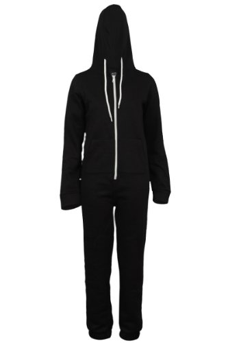 66P Womens Black Zip Up Romper Suit Ladies Hooded