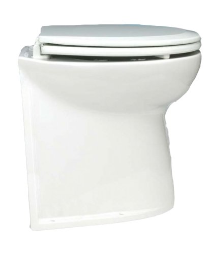 Jabsco 58240-1012 Marine Marine Deluxe Flush Straight Back Electric Toilet with Intake Pump (12-Volt, 25-Amp)