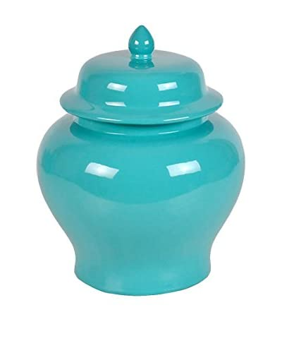 Three Hands Tall & Wide Ceramic Jar, Turquoise