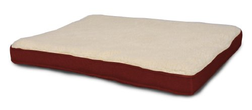 Dog Bed: AlphaPooch Lounger Orthopedic Rectangular Dog Bed, Garnet Fabric with Fleece, Extra Large
