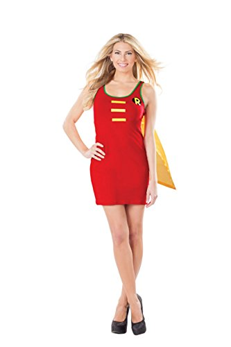 Robin Womens Tank Dress Costume With Cape Tunic Top Dynamic Duo Sexy Batman