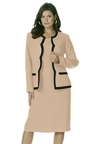 Roamans Women's Plus Size Scalloped Jacket Dress New Khaki Black,20 W