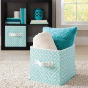 Collapsible Fabric Storage Cube, Set of 8 for Kids and Adults, Perfect for Toys and Small Items, in Aqua Greek Key Design