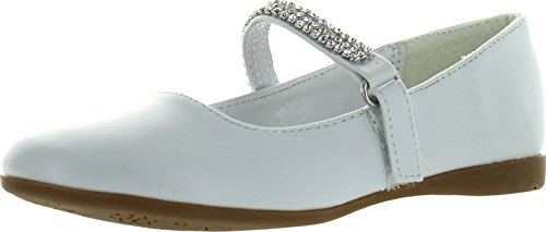 Little Angel CA03 Patent Leatherette Round Toe Rhinestone Mary Jane Ballerina Flat (Toddler/ Little Girl/ Big Girl) - White (Size: Little Kid 2) (Flower Girl Shoes White compare prices)