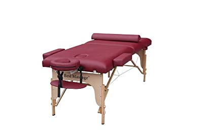 "Burgundy 77"" Long 30"" Wide 4"" Pad Portable Massage Table Spa Bed"