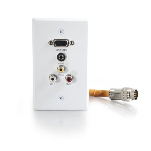 C2G / Cables To Go 60030 RapidRun Single Gang Integrated VGA (HD15) + 3.5mm + Composite Video + Stereo Audio Wall Plate