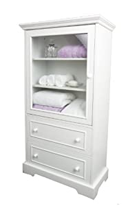 White Wood Linen Cabinet With Glazed Door And Two Drawers Storage
