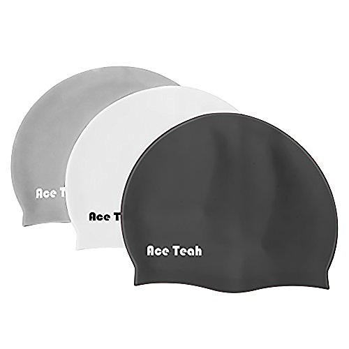 3 Pack Silicone Swim Cap Ace Teah Waterproof Haircare and Soft Bathing Cap for Kids, Children, Boys and Girls with Short or Medium Hair Aged 3-10 with High Elasticity, Black/ White/Grey (Ace Hat compare prices)