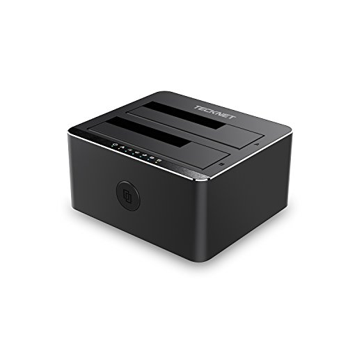 TeckNet® 2-Bay USB 3.0 Hard Disk Docking Station Con Funzione Clone Offline Per 2,5 Pollici e 3,5 Pollici Hard Disk SATA 6G (SATA I / II / III) Supporto 2 x 4TB compatibile, UASP